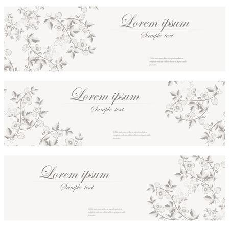 花バナー ベクトル レトロなスタイルです。ヴィンテージのカードのセットです。ヘッダー。