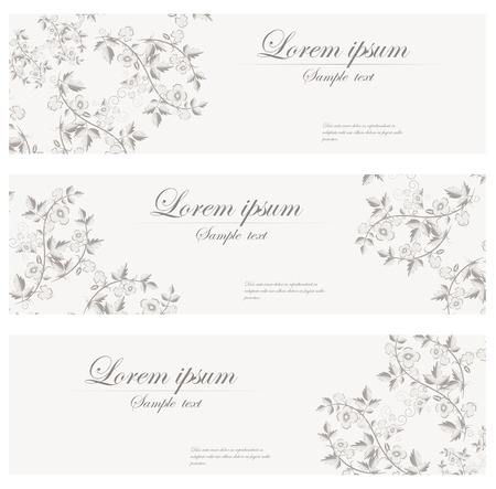 Floral banners vector retro style. Set of vintage cards. Header. Stock Illustratie