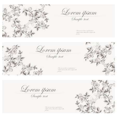 Floral banners vector retro style. Set of vintage cards. Header. Vector