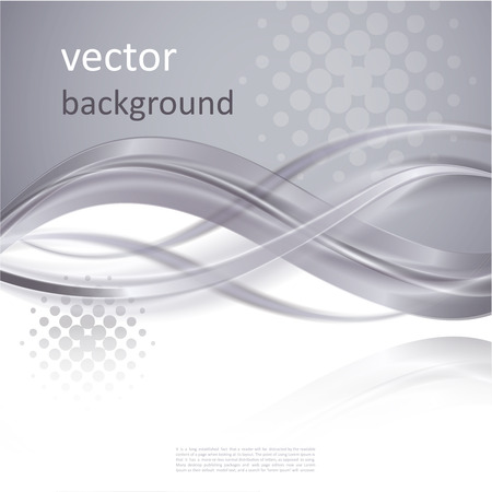 Abstract  vector background with smooth shiny grey, gray waves and halftone Vector