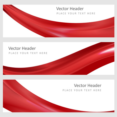 banner effect: Set abstract banners with smooth shiny red waves