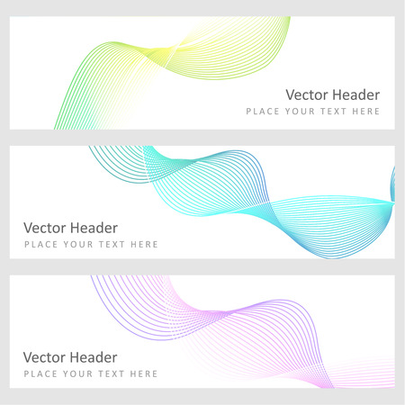 Set abstract banners with smooth shiny waves Vector