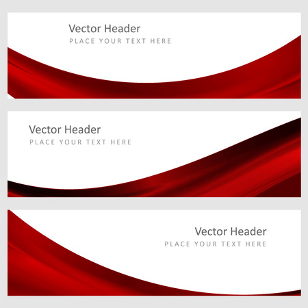 Set abstract banners with smooth shiny red waves