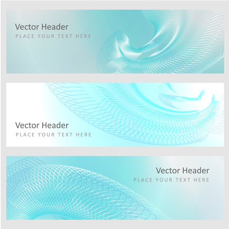 luminescence: Set abstract banners with smooth shiny blue elements Illustration