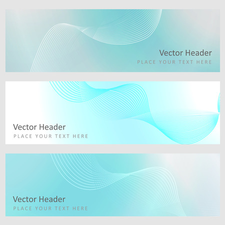 Set abstract banners with smooth shiny blue elements Vector