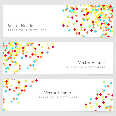 Abstract template horizontal banner with color square pattern Vector