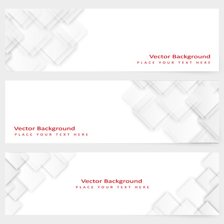 Abstract template horizontal banner with  white squares Vector