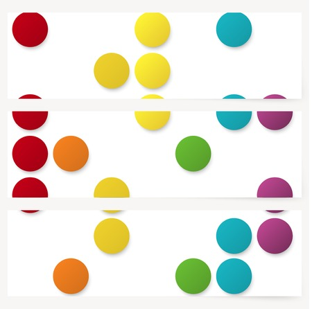 Set of abstract template horizontal banner with color rainbow circles Vector