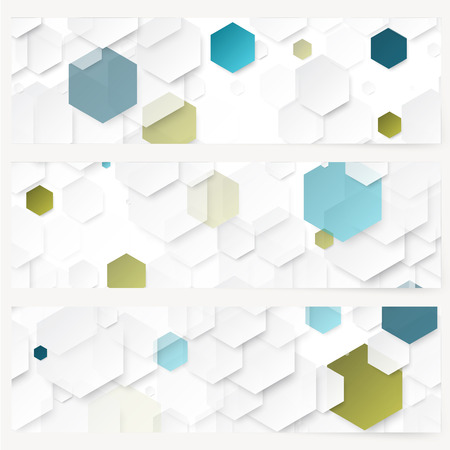 Set of abstract template banner with color hexagons Vettoriali