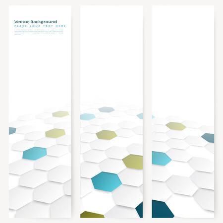 抽象テンプレート色六角形で垂直バナー遠近効果とデザインのセット