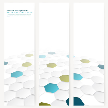 Set of abstract template vertical banner with color hexagons, design with perspective effect