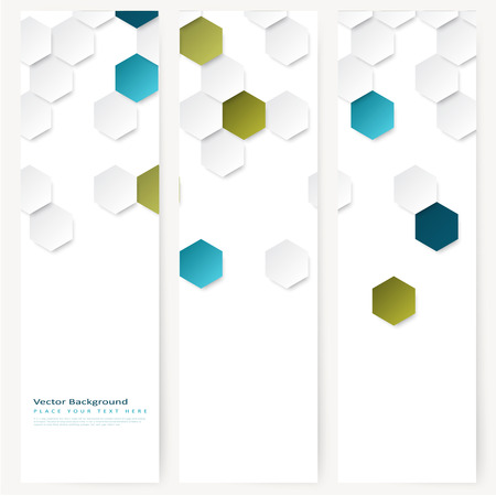 Set of abstract template vertical banner with color hexagons Vettoriali