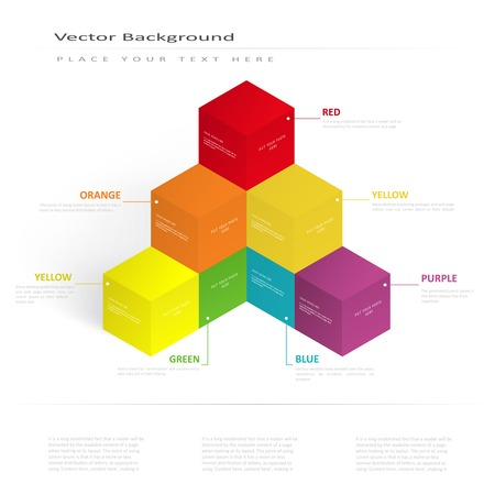 sequential: Vector 3d illustration color cubes, design with perspective effect Illustration