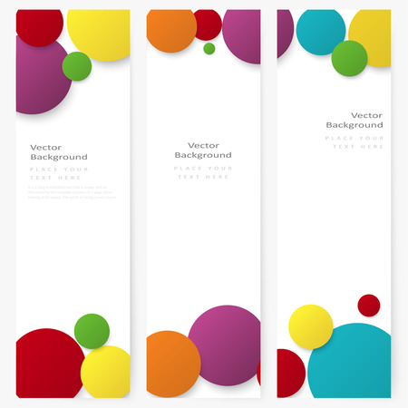 Set of abstract template vertical banner with color rainbow circles Vector