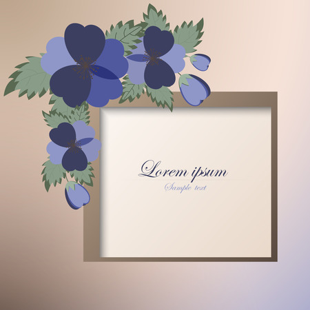 Template card for greeting, invitation, wedding, birthday, Easter with spring flowers Vector