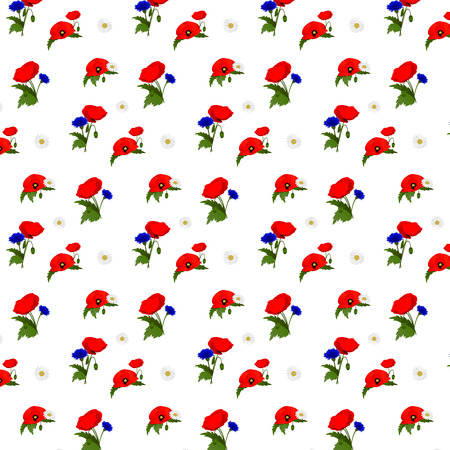 bluet: Seamless pattern with chamomile, cornflowers and poppies flowers. Vector illustration