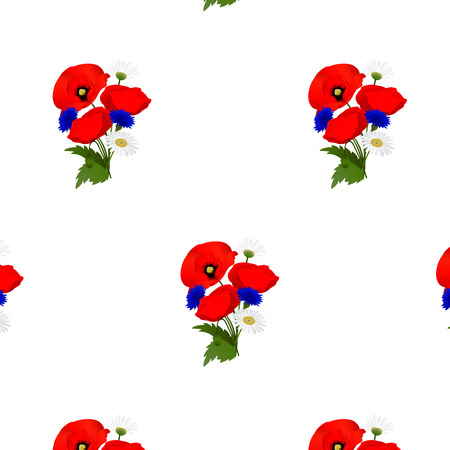 cornflowers: Seamless pattern with chamomile, cornflowers and poppies flowers. Vector illustration