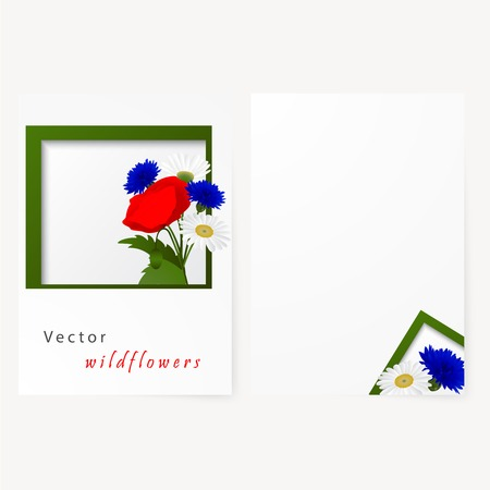 bluet: Template card for greeting, invitation, wedding, birthday, Easter with flowers chamomile, cornflowers and red poppy