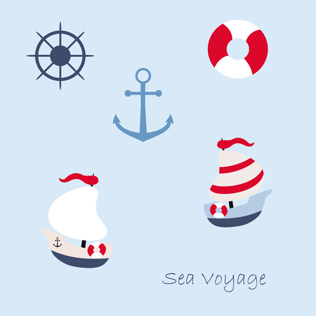 brigantine: Vector illustration in marine style - set icons. Element design