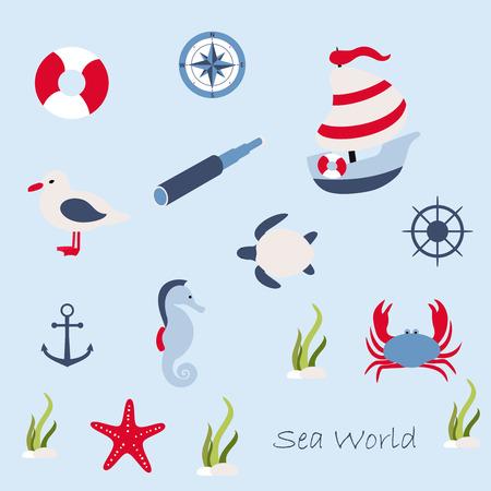 sea horse: illustration in marine style Illustration