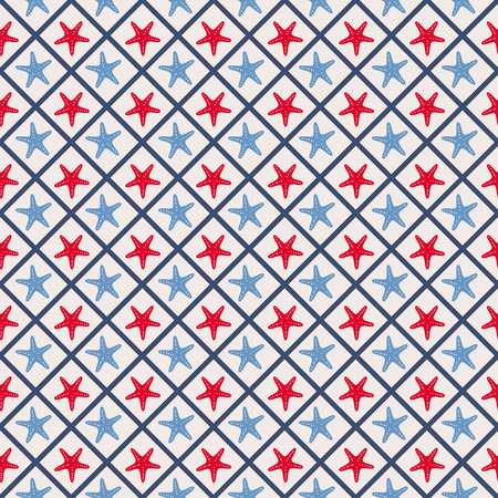 cellule: Seamless pattern with cross lines and starfish Illustration