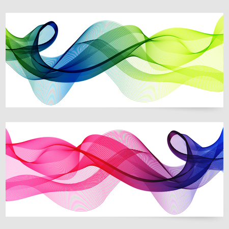Abstract template horizontal banner with transparent smoke