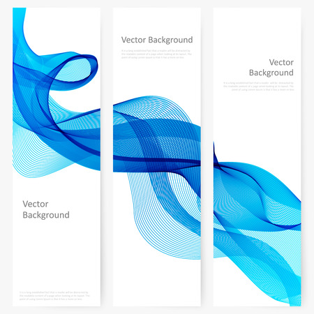 blue ribbon: Abstract template vertical banner with transparent smoke Illustration