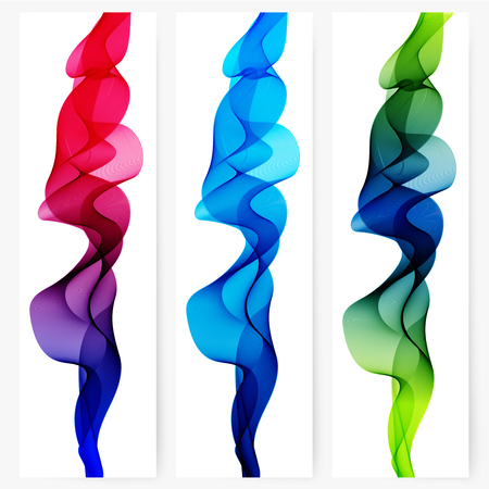 green and red: Abstract template vertical banner with transparent smoke Illustration