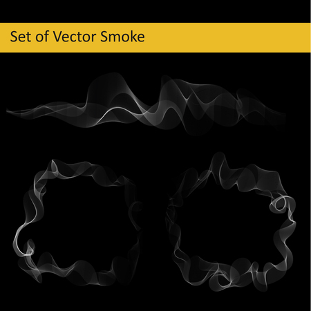 Set of abstract vector transparent cigarette smoke Vectores