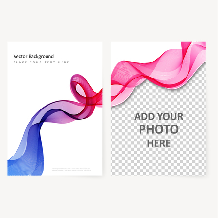 abstract waves: Abstract template color flyer with transparent waves