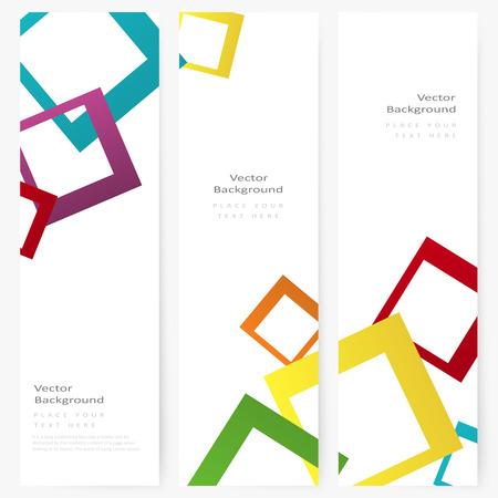 Set di astratto modello di banner verticale con quadrati di colore