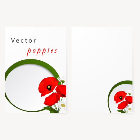 Card with chamomile and red flowers poppies