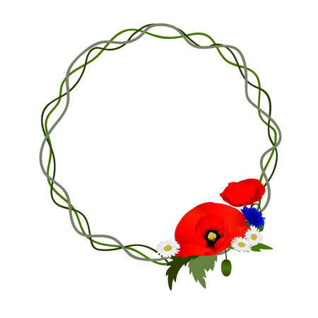 white background with chamomile, cornflowers and poppies