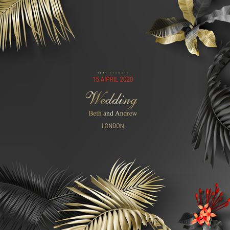 Tropical black and gold leaves on dark background vector poster Beautiful botanical design with golden tropic jungle palm leaves, exotic red flower Wedding ceremony invitation card, christmas greeting Ilustração