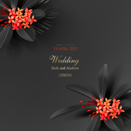 Tropical black leaves and exotic red flower on dark background vector poster Beautiful botanical design with tropic jungle plant golden inscription Wedding ceremony invitation card, christmas greeting