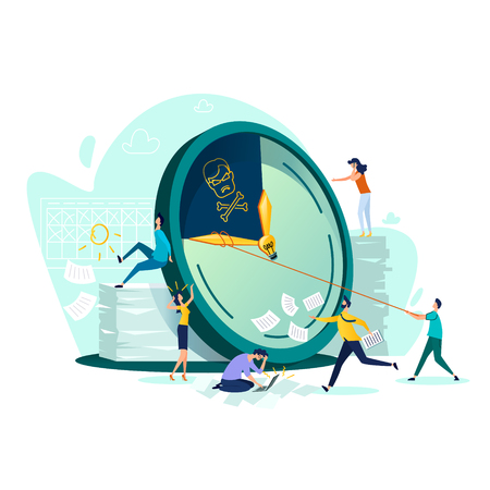 Deadline and time management business concept vector. Large watches and hurried workers pulling clock hand using rope, trying to stop or slow down time, fast teamwork flat illustration Illustration
