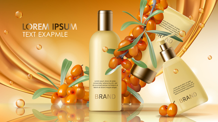 Sea buckthorn cosmetics vector realistic ads poster. Elegant packaging with cosmetic cream or lotion, branch with juicy orange seaberry, olive green leaves and flowing golden oil, magazine mockup  イラスト・ベクター素材