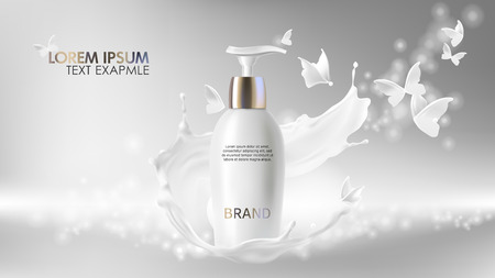 Cosmetic realistic vector shining background with cream. Skin care cosmetics body lotion in white bottle with silver dispenser in milk splash, swirl with flying butterflies Mock-up promo banner poster Ilustrace