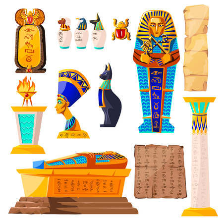 Ancient Egypt vector cartoon set. Egyptian culture symbols collection, golden sarcophagus, religious sacrificial fire, statues of ancient gods and Nefertiti, papyrus with hieroglyphs and scarab beetle Illustration