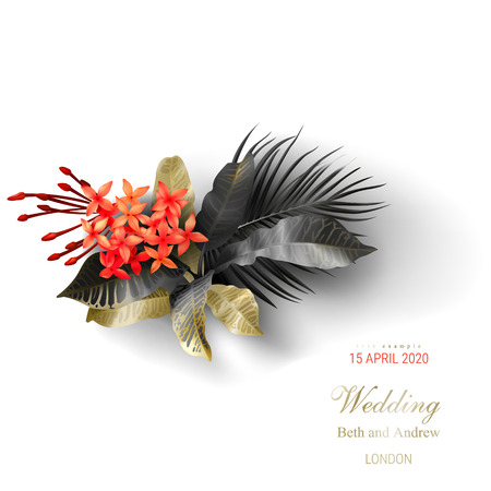 Tropical black and gold leaves on white background vector ads poster Beautiful botanical design with golden tropic jungle palm leaves, exotic red flowers Wedding ceremony invitation card, holiday sale