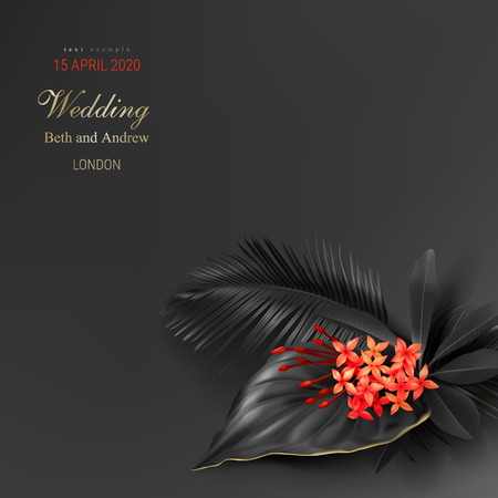 Tropical black leaves and exotic red flower on dark vector background. Beautiful botanical design with tropic jungle leaves, golden inscription. Wedding ceremony invitation card, christmas greeting Ilustrace