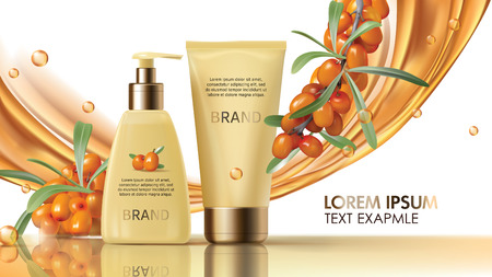 Sea buckthorn cosmetics vector realistic ads poster. Elegant packaging with cosmetic cream or lotion, branch with juicy orange seaberry, olive green leaves and flowing golden oil, magazine mockup Ilustrace