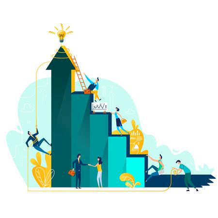 Raggiungimento dell'obiettivo e concetto di affari di lavoro di squadra, crescita di carriera e cooperazione per lo sviluppo del progetto, illustrazione piana del fumetto di vettore di idea. Scala di successo e scalata persone, personale aziendale