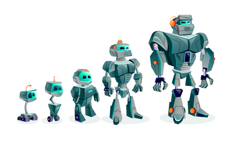 Evolution of robots, artificial intelligence technological progress, cartoon vector illustration isolated on white background. Development of robots from primitive tracked droid to humanoid cyber Ilustrace