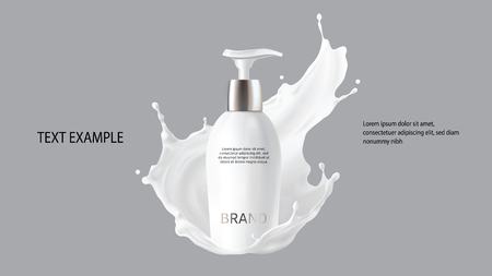 Milk cosmetics realistic vector. Skin care cosmetic product, body lotion in white bottle with silver dispenser and milk splash, crown isolated on gray background. Mock-up promo poster