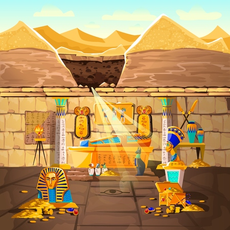 Ancient Egypt pharaoh lost tomb, underground cartoon vector illustration. Archeological excavations, treasures hunting concept. Desert, dug sand and sunbeam in crypt with sarcophagus and gold coins