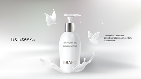Milk cosmetics realistic vector blurred background. Skin care cosmetic product, body lotion in white bottle with silver dispenser in milk splash, crown with flying butterflies Mock-up promo poster Ilustrace