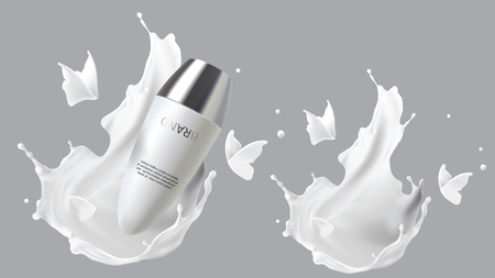 Roll-on deodorant in milk splash cosmetic realistic vector Skin care cosmetics antiperspirant for sensitive skin in white plastic tube isolated on gray with white liquid flying butterflies silhouette.