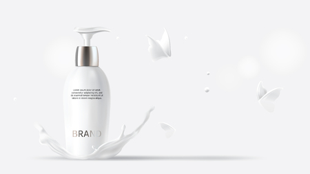 Milk cosmetics realistic vector white background. Skin care cosmetic product, body lotion in white bottle with silver dispenser in milk splash, crown with flying butterflies Mock-up promo poster