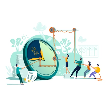 Deadline time management business concept vector. Large watches and hurried workers pulling clock hand using rope pulley or block system, trying to stop or slow down time, teamwork flat illustration Ilustração